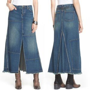 FREE PEOPLE Boho Denim Patchwork Maxi Skirt